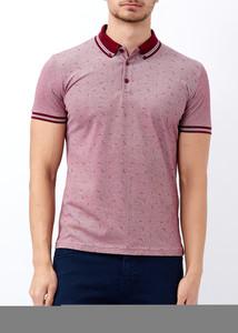 ADZE - Erkek Bordo Baskılı Polo Yaka T-shirt