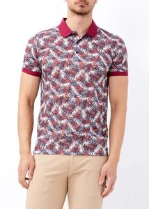 ADZE - Erkek Bordo Baskılı Polo Yaka Tişört