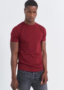 ADZE - Erkek Bordo Bisiklet Yaka Basic T-shirt