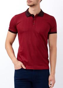 ADZE - Erkek Bordo Slim Fit Jakarlı Polo Yaka Tişört