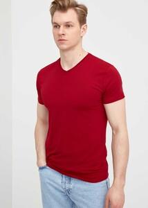 ADZE - Erkek Bordo V Yaka Battal T-Shirt