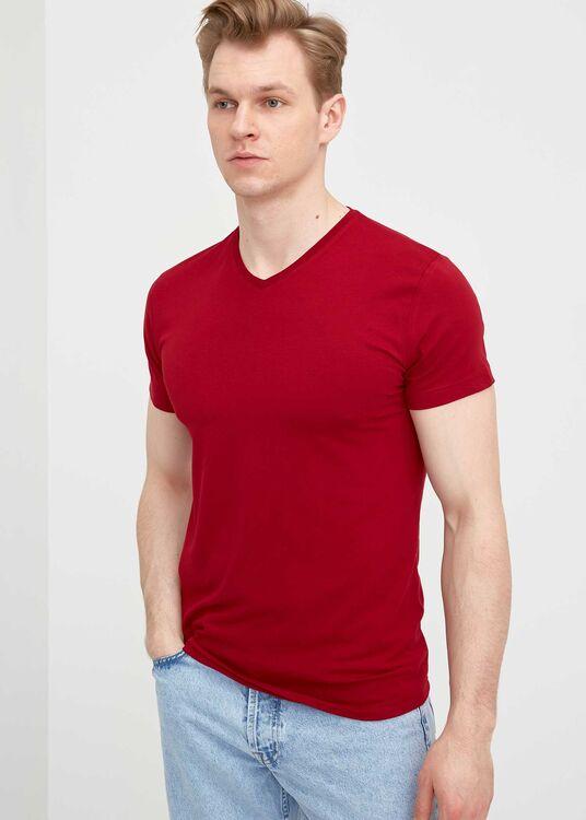 Erkek Bordo V Yaka Battal T-Shirt