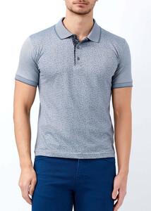 ADZE - Erkek Gri Çiçek Desenli Slim Fit Polo Yaka Tişört