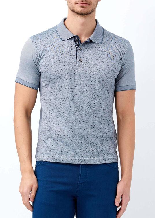 Erkek Gri Çiçek Desenli Slim Fit Polo Yaka Tişört