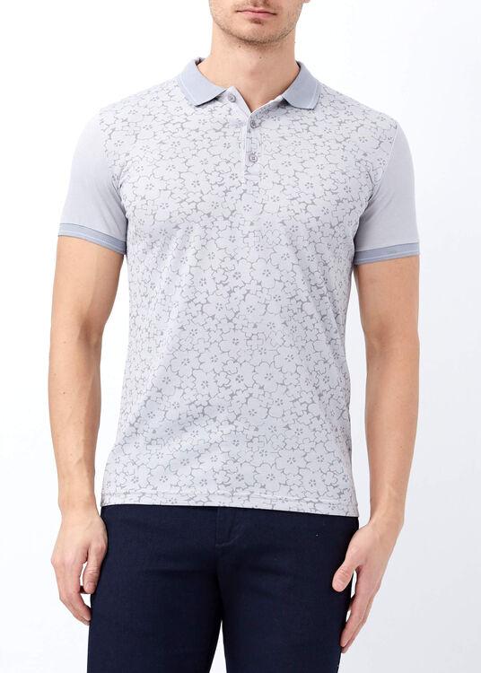 Erkek Gri Düğmeli Polo Yaka Baskılı T-shirt