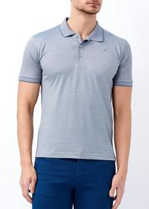 ADZE - Erkek Gri Yaka ve Kol Detaylı Polo Yaka Tişört