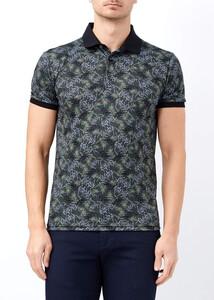 ADZE - Erkek Haki Baskılı Polo Yaka Tişört