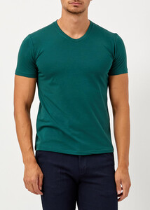 ADZE - Erkek Haki V Yaka Slim Fit Basic T-shirt