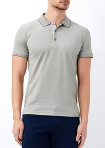 ADZE - Erkek Haki Yaka ve Kol Detaylı Polo Tişört