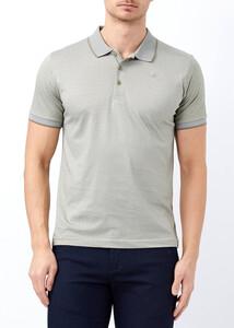 ADZE - Erkek Haki Yaka ve Kol Detaylı Polo Yaka Tişört