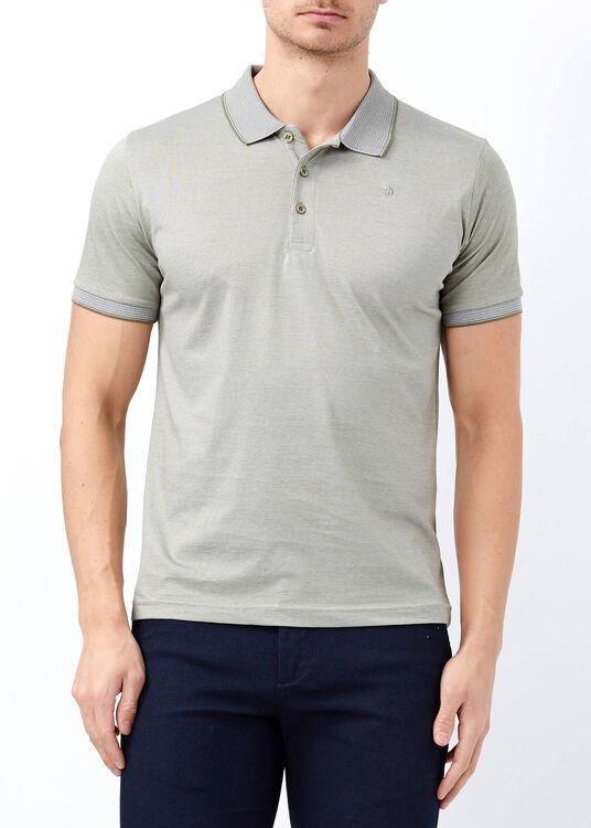 Erkek Haki Yaka ve Kol Detaylı Polo Yaka Tişört