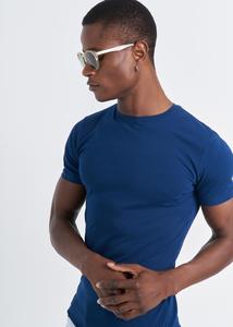 ADZE - Erkek İndigo Bisiklet Yaka Basic T-shirt