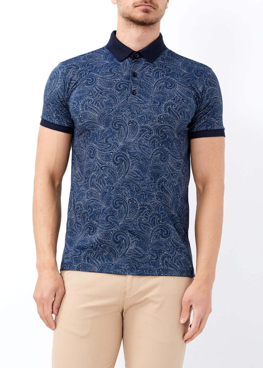 Erkek İndigo Dijital Baskılı Slim Fit Polo Yaka Tişört