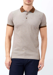 ADZE - Erkek Kahve Baskılı Polo Yaka T-shirt