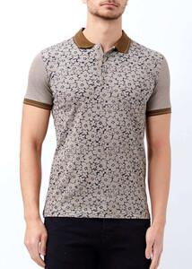 ADZE - Erkek Kahverengi Düğmeli Polo Yaka Baskılı T-shirt