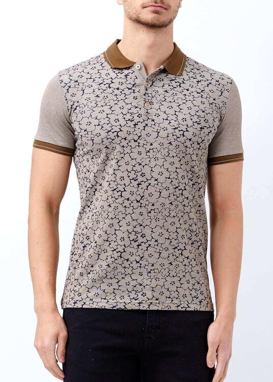 Erkek Kahverengi Düğmeli Polo Yaka Baskılı T-shirt