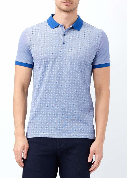 Erkek Koyu Mavi Baskılı Polo Yaka T-shirt