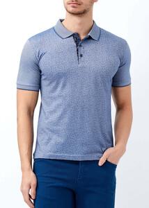 ADZE - Erkek Koyu Mavi Çiçek Desenli Slim Fit Polo Yaka Tişört