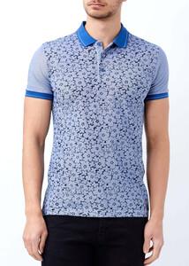ADZE - Erkek Koyu Mavi Düğmeli Polo Yaka Baskılı T-shirt