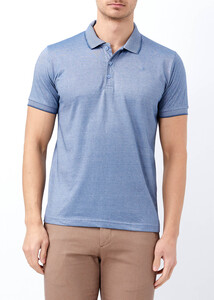 ADZE - Erkek Koyu Mavi Yaka ve Kol Detaylı Polo Yaka Tişört