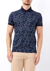 ADZE - Erkek Lacivert Baskılı Polo Yaka Tişört