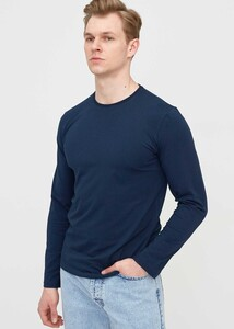 ADZE - Erkek Lacivert Bisiklet Yaka Uzun Kol Sweatshirt