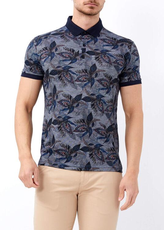 Erkek Lacivert Desenli Polo Yaka Tişört