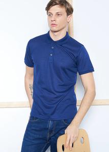 ADZE - Erkek Lacivert Düğmeli Polo Yaka Jakarlı T-shirt