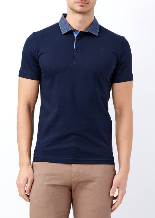 Erkek Lacivert Slim Fit Basic Düz Polo Yaka Tişört