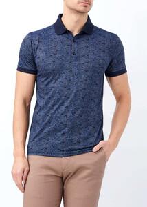 ADZE - Erkek Lacivert Slim Fit Baskılı Polo Yaka Tişört