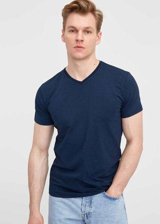 Erkek Lacivert V Yaka Battal T-Shirt