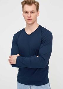 ADZE - Erkek Lacivert V Yaka Uzun Kol Basic Sweatshirt