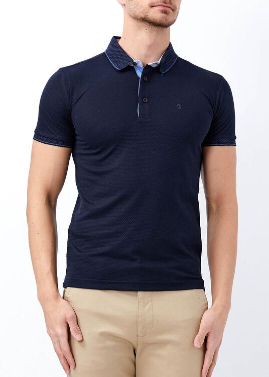 Erkek Lacivert Yaka Desenli Slim Fit Polo Yaka Tişört