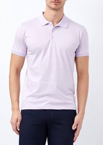 ADZE - Erkek Lila Yaka ve Kol Detaylı Polo Yaka Tişört
