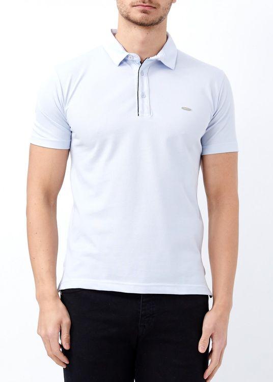 Erkek Mavi Basic Polo Yaka T-shirt