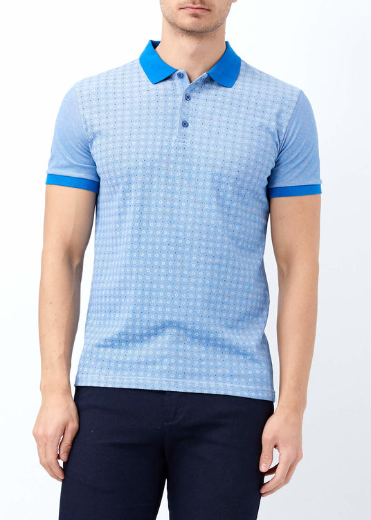 Erkek Mavi Baskılı Polo Yaka T-shirt