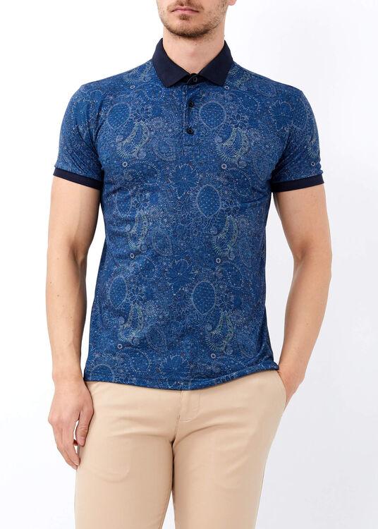 Erkek Mavi Baskılı Slim Fit Spor Polo Yaka Tişört