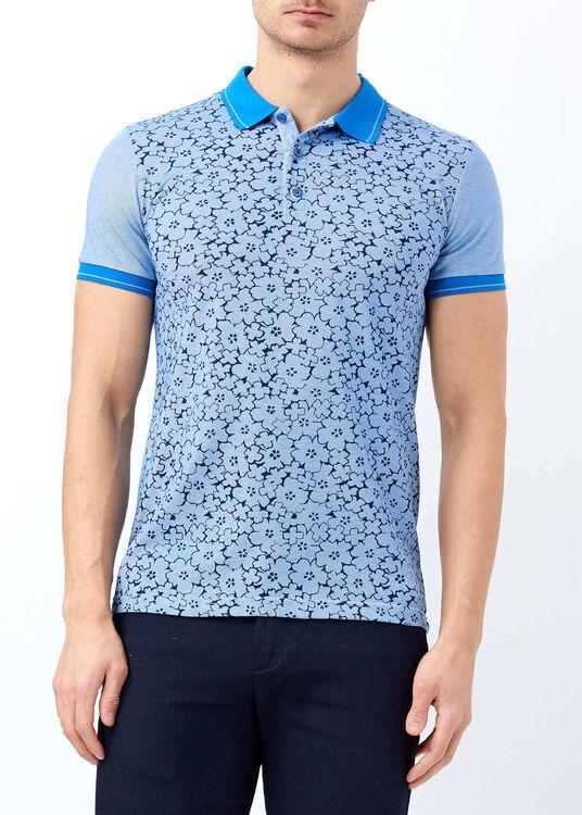 Erkek Mavi Düğmeli Polo Yaka Baskılı T-shirt