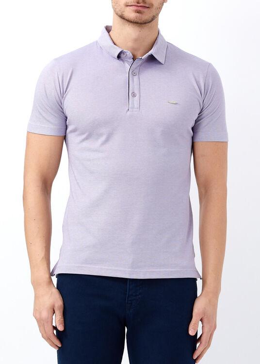 Erkek Mor Basic Polo Yaka T-shirt