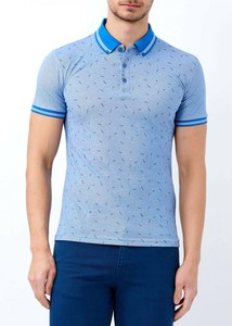 ADZE - Erkek Okyanus Mavi Baskılı Polo Yaka T-shirt