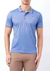 ADZE - Erkek Saks Yaka ve Kol Detaylı Polo Yaka Tişört