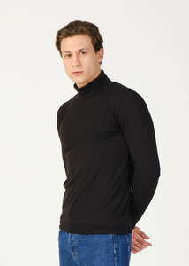 ADZE - Erkek Siyah Balıkçı Yaka Basic Sweatshirt