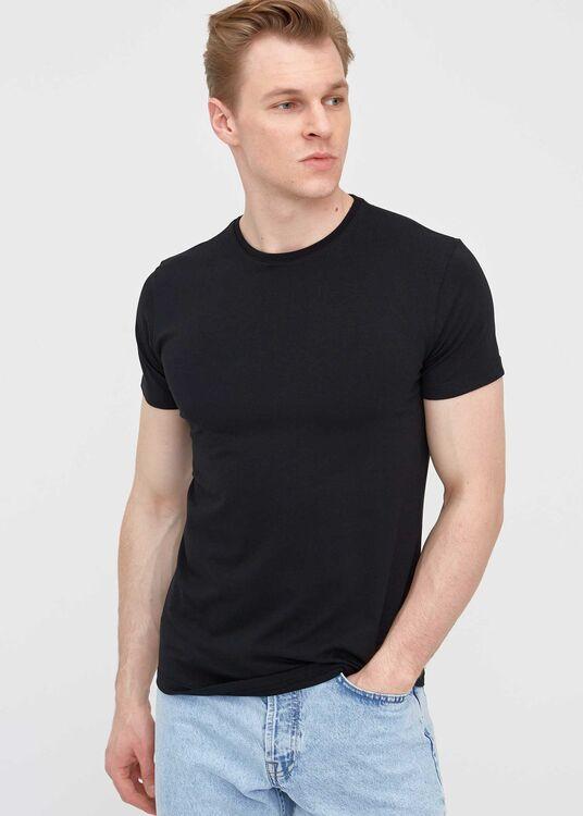 Erkek Siyah Bisiklet Yaka Battal T-shirt