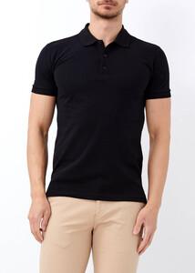 ADZE - Erkek Siyah Düz Slim Fit Polo Yaka Tişört