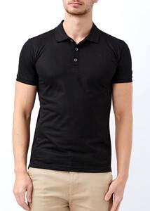 ADZE - Erkek Siyah Polo Yaka Jakarlı T-shirt