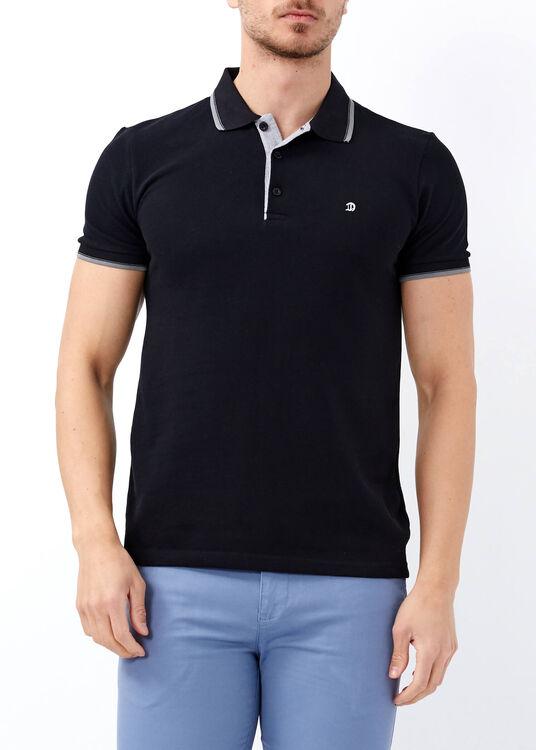 Erkek Siyah Slim Fit Basic Polo Yaka Tişört