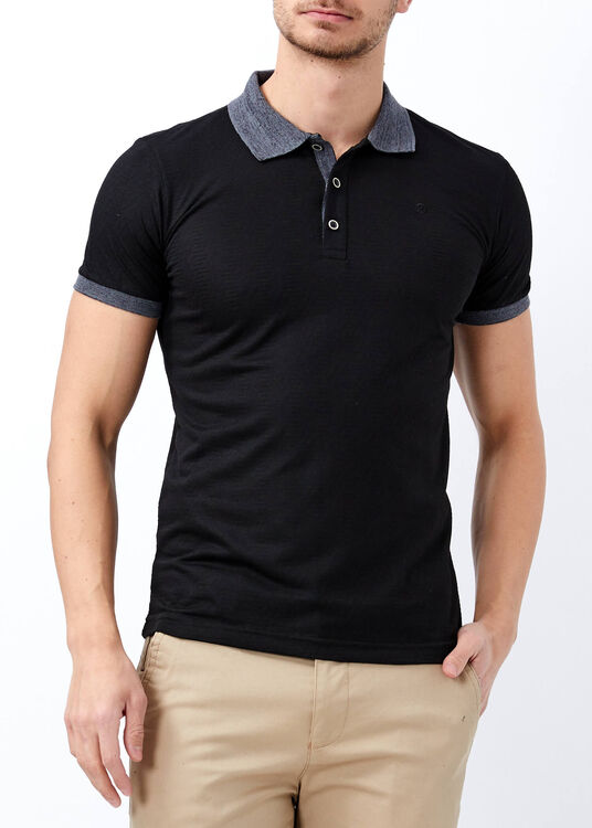 Erkek Siyah Slim Fit Jakarlı Polo Yaka Tişört