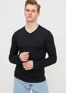 ADZE - Erkek Siyah V Yaka Uzun Kol Basic Sweatshirt
