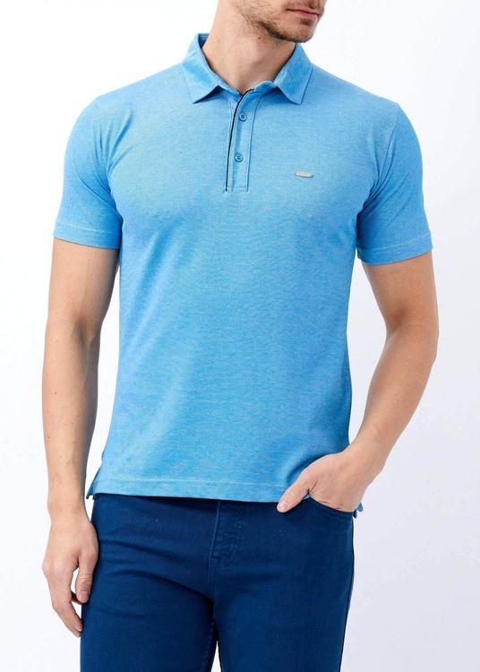 Erkek Turkuaz Basic Polo Yaka T-shirt