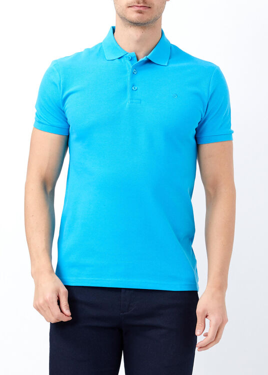 Erkek Turkuaz Slim Fit Basic Polo Yaka Tişört